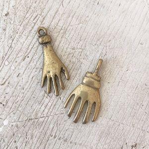 Vintage 90s Hand Charm Gold Boho Gypsy Pendant